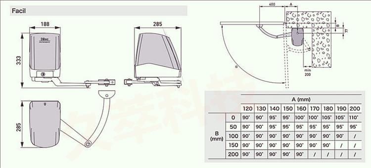 意大利迪泰柯DITEC曲臂平开门机Facil电机及安装尺寸