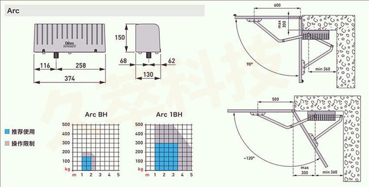 意大利DITEC豪华重型机电曲臂式平开门机ARC尺寸